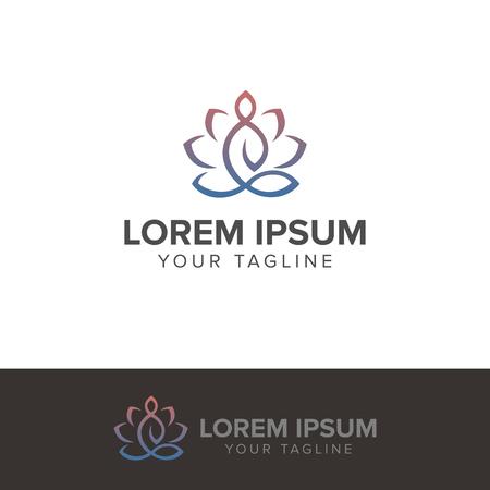 ヨガ瞑想ロゴ ベクトル イラスト白背景に分離