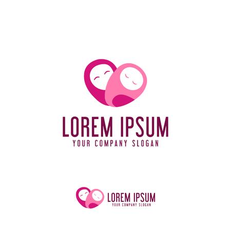 mothers love care icon logo design concept template