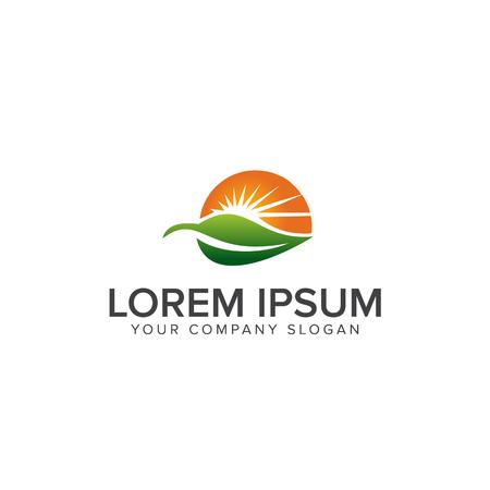 自然緑の風景の日の出のロゴのデザイン コンセプト テンプレート