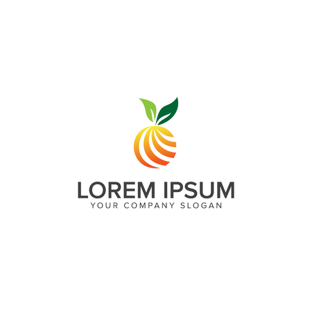 Orange fruit logo design concept template.Vector illustration on white background. Illustration