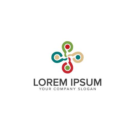 Friendship, Teamwork, Connectivity logo design concept template