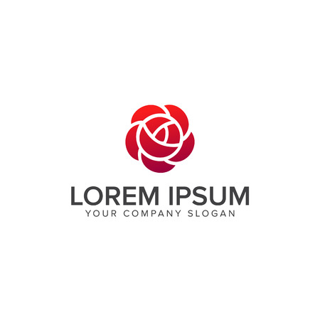Rose Flower Logo geometrisch ontwerp vector template. Tuin Logotype lineaire stijl. Stock Illustratie
