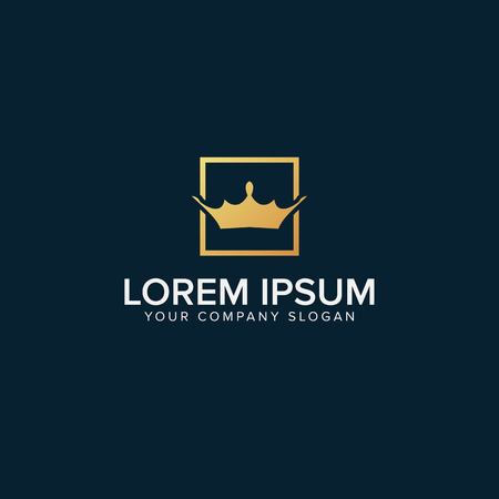 Crown in square Logo Template vector illustration