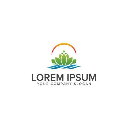 Beautiful lotus flower symbol. logo design concept template