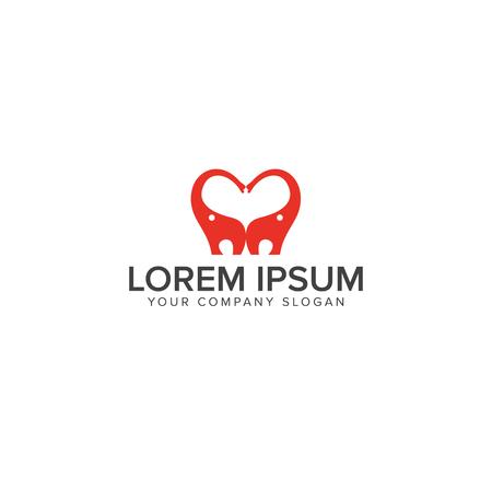 love elephant logo design concept template Ilustração
