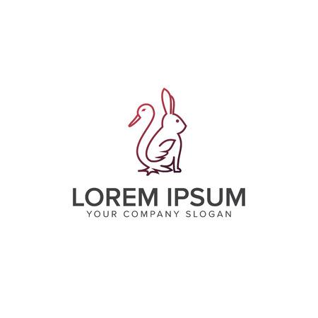 線鴨ウサギのロゴマーク。ファームのロゴのコンセプト。ロゴのデザイン コンセプトのテンプレート