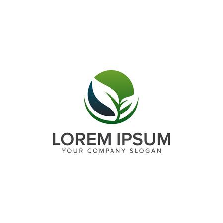 leaf eco green logo design concept template  イラスト・ベクター素材