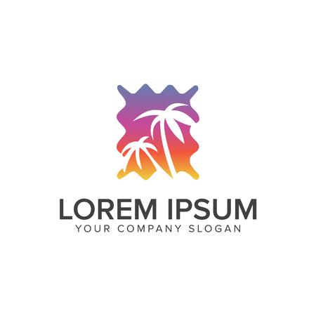 Palm en zon logo ontwerp.