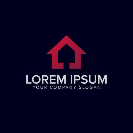 purple house logo design concept template
