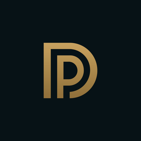 luxury Letter D and letter P logo. pd, dp initial overlapping in square letter logotype colorful  イラスト・ベクター素材