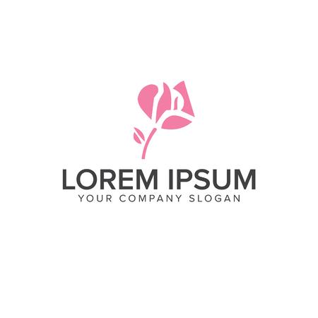 pink flower logo design concept template Illustration