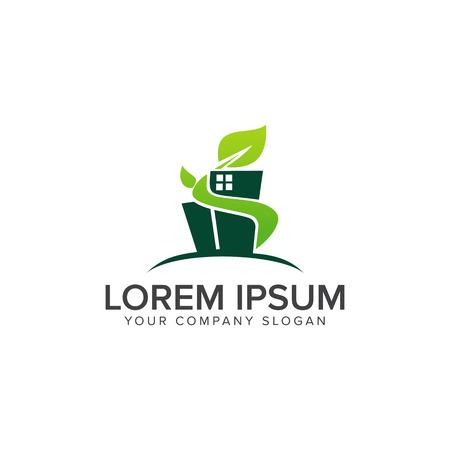 Grünes Gebäude Bau Logo Design Konzept Vorlage Standard-Bild - 82863482