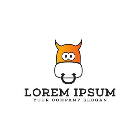 funny cow logo. Animals logo design concept