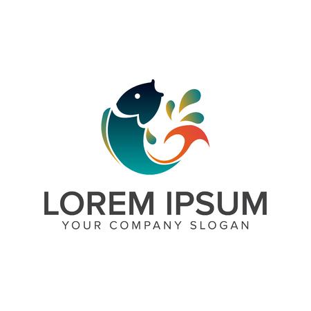 jump fish logo. animal logo design concept template