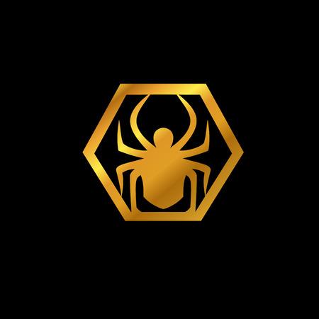 クモの徽章。動物のロゴのデザイン コンセプトのテンプレート  イラスト・ベクター素材