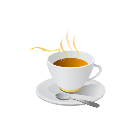 hot coffe illustration vector isolated on white background Çizim