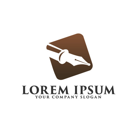 luxury pen logo. Fountain pen logo design concept template