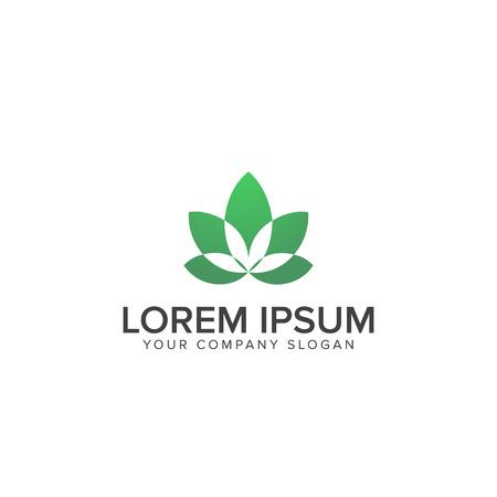 leaf decoration yoga logo design concept template. Stock Vector - 82887783