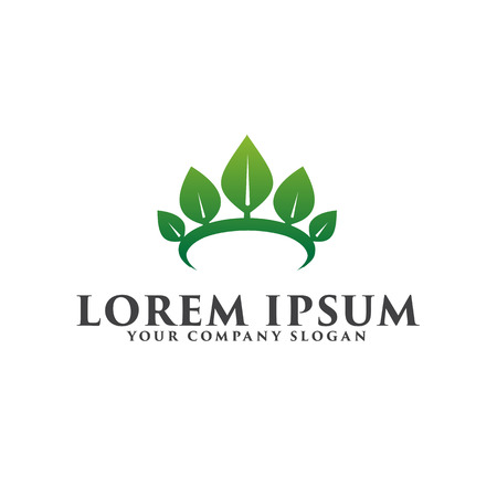 leaf crown logo Spa Cosmetics and beauty logo design concept template