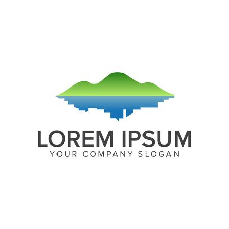 緑の山と町のロゴ。環境と緑造園  イラスト・ベクター素材