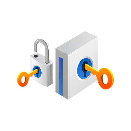 南京錠とキー。セキュリティと保護の概念。白い背景で隔離のベクトル図