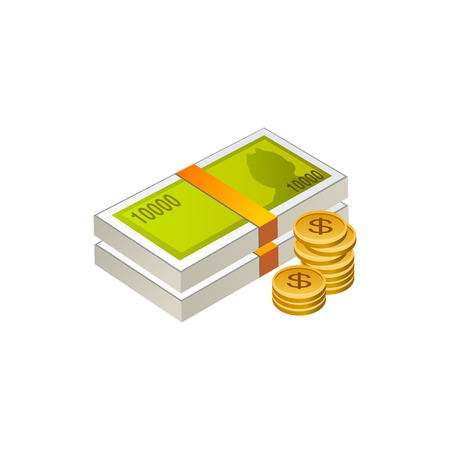 돈 현금과 동전입니다. 흰색 배경에 고립 된 벡터 일러스트 레이 션