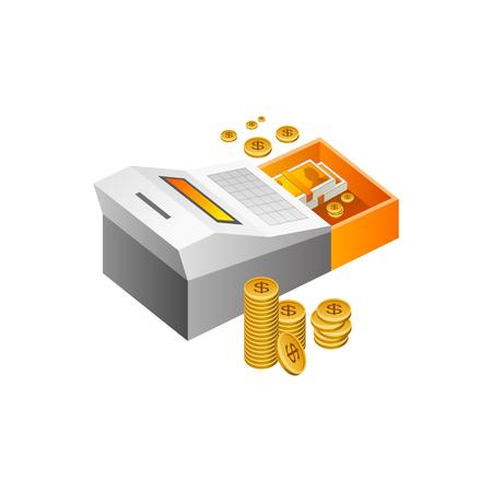 Caisse enregistreuse Vector Illustration isolé sur fond blanc Banque d'images - 82887827