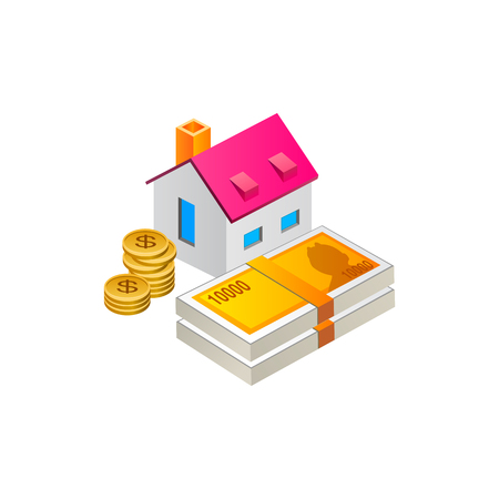 house with money cash and coin . Vector Illustration Isolated on White Background