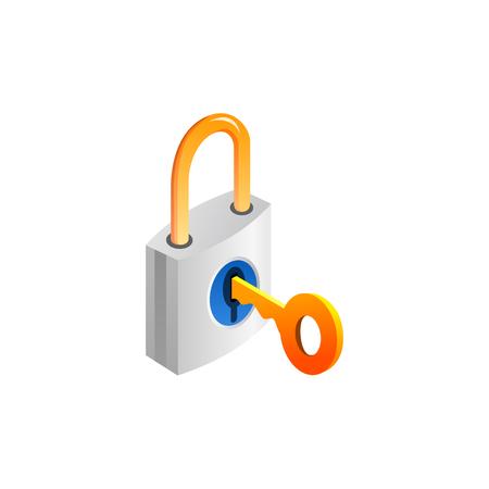 南京錠とキー。白い背景で隔離のベクトル図  イラスト・ベクター素材