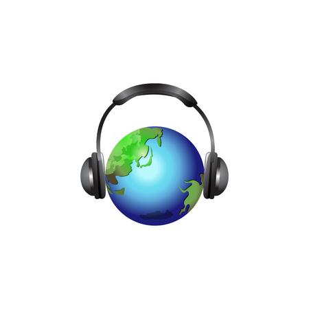 wereldbol met hoofdtelefoon. Vectorillustratie geïsoleerd op een witte achtergrond