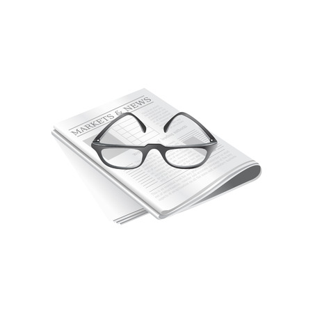 Newspapers and eyeglasses . Vector Illustration Isolated on White Background