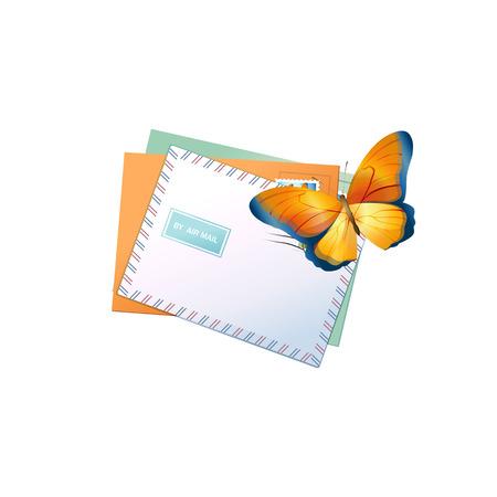 e-mail envelop en vlinder. Vectorillustratie geïsoleerd op een witte achtergrond Stock Illustratie