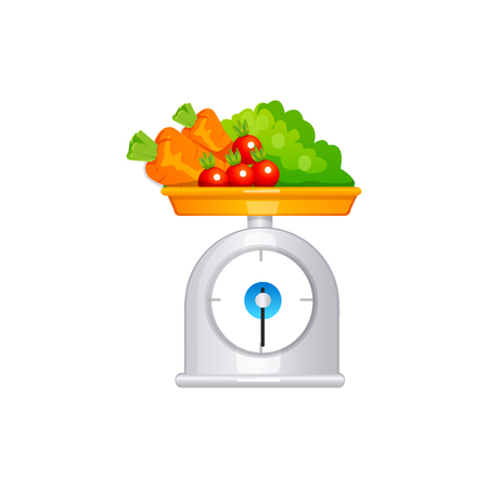 scales with fruit. Vector Illustration Isolated on White Background