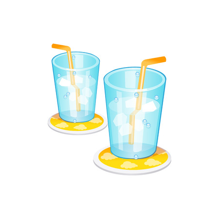 ice glass. Vector Illustration Isolated on White Background Ilustração