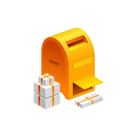 古いメールボックスのシンボル.白い背景で隔離のベクトル図  イラスト・ベクター素材