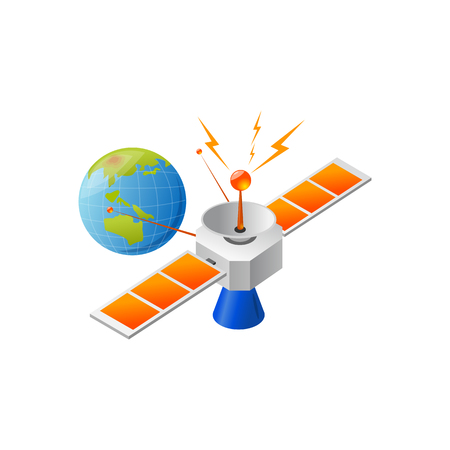 satellite and earth posotioning. Vector Illustration Isolated on White Background