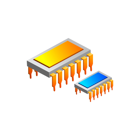 chips ic electronic. Vector Illustration Isolated on White Background Çizim