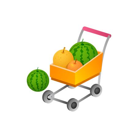 shopping cart with fress fruit. isometric symbol Vector Illustration design