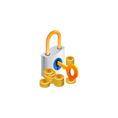 padlock with cash. isometric symbol Vector Illustration design Çizim