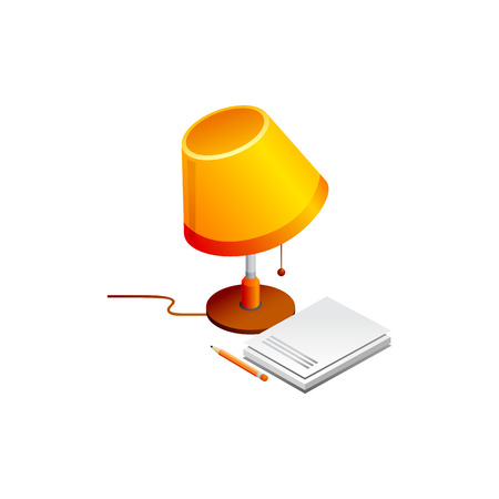lamp and book pencil. Vector Illustration Isolated on White Background Ilustração