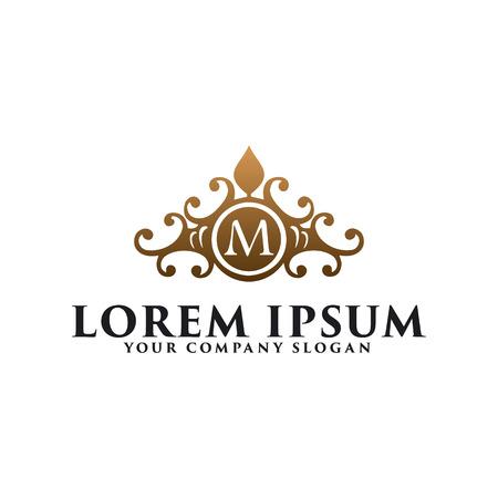 luxury vintage floral emblem with letter M, hotel restaurant real estate logo design concept template Logo