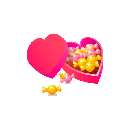 candy with love box. Realistic Vector Illustration design