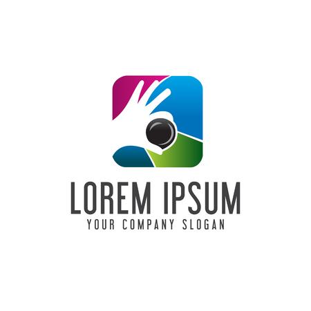 photography hand lens logo. Media logo design concept template Illustration