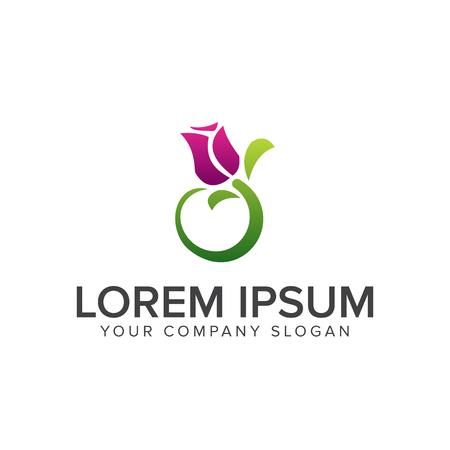 Jasmine flower logo design concept template.