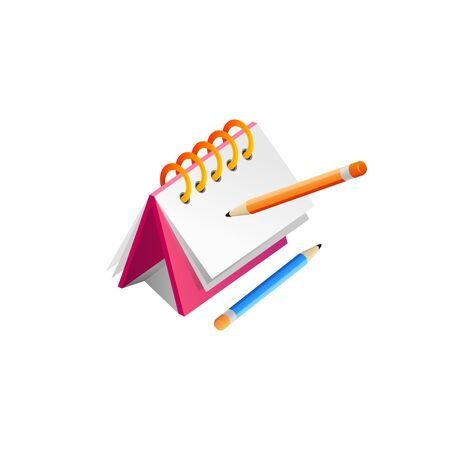note and pencil Realistic Vector Illustration design Illustration
