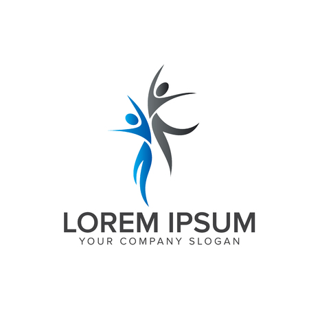 Saltar personas Logos. Plantilla de concepto de diseño de logotipo empresarial y consultoría