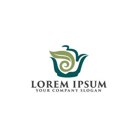 茶緑色のロゴ デザイン コンセプト テンプレート