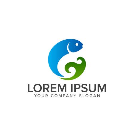 Fish logo design concept template. Illustration
