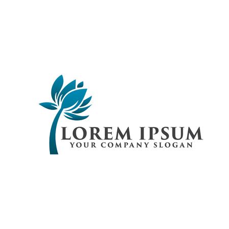 blue flower logo design concept template