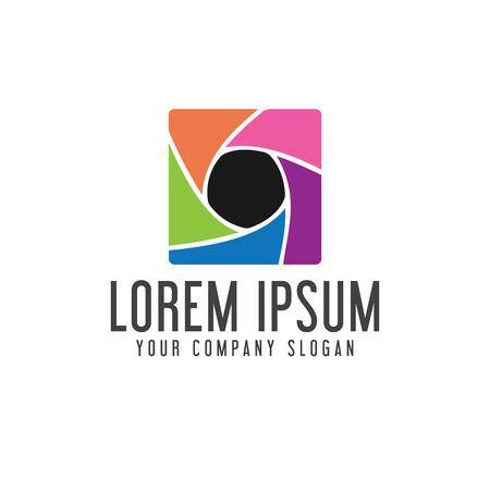 メディアのロゴ。写真のロゴ デザイン コンセプト テンプレート